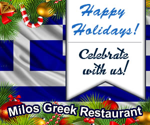 Happy Holidays from Milos Greek Restaurant! Catering and Holiday Party Bookings Available!