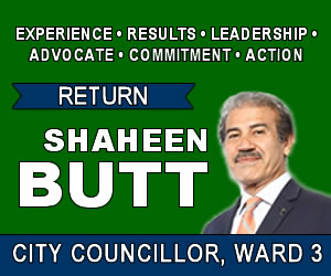 Elect Shaheen Butt City Councillor Ward 3